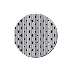 Stripes Line Triangles Vertical Black Rubber Coaster (round)