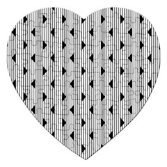 Stripes Line Triangles Vertical Black Jigsaw Puzzle (heart)