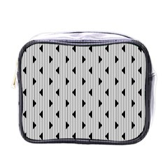 Stripes Line Triangles Vertical Black Mini Toiletries Bags