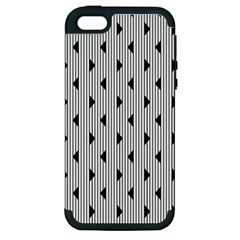 Stripes Line Triangles Vertical Black Apple Iphone 5 Hardshell Case (pc+silicone)