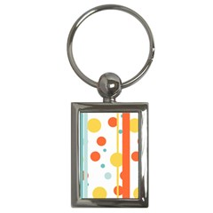 Stripes Dots Line Circle Vertical Yellow Red Blue Polka Key Chains (rectangle)