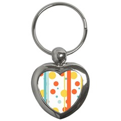 Stripes Dots Line Circle Vertical Yellow Red Blue Polka Key Chains (heart)