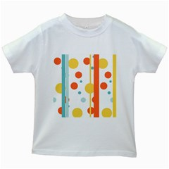 Stripes Dots Line Circle Vertical Yellow Red Blue Polka Kids White T Shirts