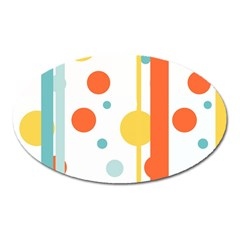 Stripes Dots Line Circle Vertical Yellow Red Blue Polka Oval Magnet