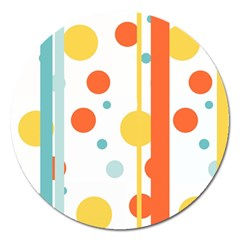 Stripes Dots Line Circle Vertical Yellow Red Blue Polka Magnet 5  (round)
