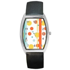 Stripes Dots Line Circle Vertical Yellow Red Blue Polka Barrel Style Metal Watch by Mariart