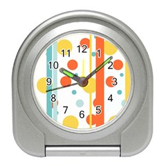 Stripes Dots Line Circle Vertical Yellow Red Blue Polka Travel Alarm Clocks