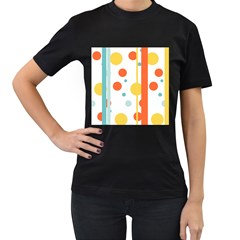Stripes Dots Line Circle Vertical Yellow Red Blue Polka Women s T Shirt (black) (two Sided)
