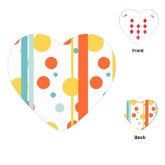 Stripes Dots Line Circle Vertical Yellow Red Blue Polka Playing Cards (heart)