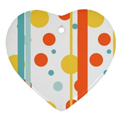 Stripes Dots Line Circle Vertical Yellow Red Blue Polka Heart Ornament (two Sides)