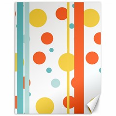 Stripes Dots Line Circle Vertical Yellow Red Blue Polka Canvas 12  X 16