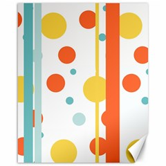 Stripes Dots Line Circle Vertical Yellow Red Blue Polka Canvas 16  X 20