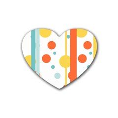 Stripes Dots Line Circle Vertical Yellow Red Blue Polka Heart Coaster (4 Pack)