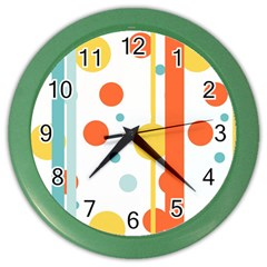 Stripes Dots Line Circle Vertical Yellow Red Blue Polka Color Wall Clocks
