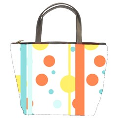 Stripes Dots Line Circle Vertical Yellow Red Blue Polka Bucket Bags by Mariart