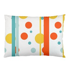 Stripes Dots Line Circle Vertical Yellow Red Blue Polka Pillow Case (two Sides)