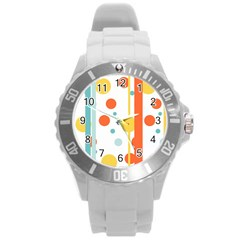 Stripes Dots Line Circle Vertical Yellow Red Blue Polka Round Plastic Sport Watch (l)