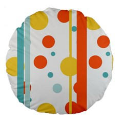 Stripes Dots Line Circle Vertical Yellow Red Blue Polka Large 18  Premium Round Cushions by Mariart