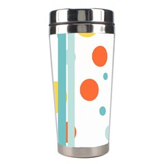 Stripes Dots Line Circle Vertical Yellow Red Blue Polka Stainless Steel Travel Tumblers by Mariart