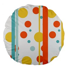 Stripes Dots Line Circle Vertical Yellow Red Blue Polka Large 18  Premium Flano Round Cushions by Mariart