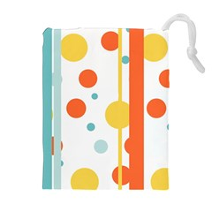 Stripes Dots Line Circle Vertical Yellow Red Blue Polka Drawstring Pouches (extra Large) by Mariart