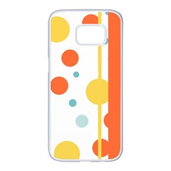 Stripes Dots Line Circle Vertical Yellow Red Blue Polka Samsung Galaxy S7 Edge White Seamless Case by Mariart