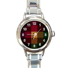 Stripes Plaid Color Round Italian Charm Watch