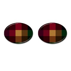 Stripes Plaid Color Cufflinks (oval)