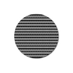 Tribal Stripes Black White Magnet 3  (round) by Mariart