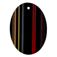 Stripes Line Black Red Ornament (oval) by Mariart