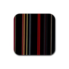 Stripes Line Black Red Rubber Square Coaster (4 Pack)  by Mariart