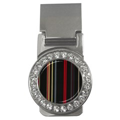 Stripes Line Black Red Money Clips (cz)  by Mariart