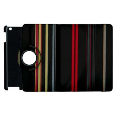 Stripes Line Black Red Apple Ipad 2 Flip 360 Case by Mariart