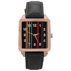 Stripes Line Black Red Rose Gold Leather Watch  by Mariart