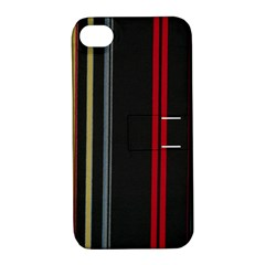Stripes Line Black Red Apple Iphone 4/4s Hardshell Case With Stand by Mariart