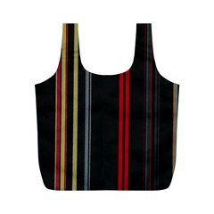 Stripes Line Black Red Full Print Recycle Bags (m)  by Mariart