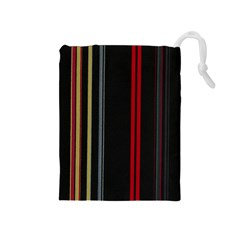 Stripes Line Black Red Drawstring Pouches (medium)  by Mariart
