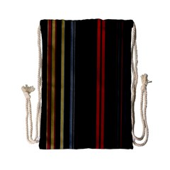 Stripes Line Black Red Drawstring Bag (small) by Mariart