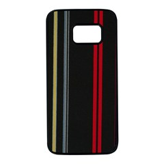 Stripes Line Black Red Samsung Galaxy S7 Black Seamless Case by Mariart