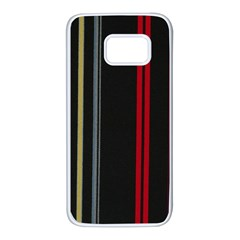 Stripes Line Black Red Samsung Galaxy S7 White Seamless Case by Mariart