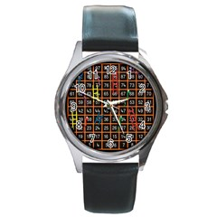 Snakes Ladders Game Plaid Number Round Metal Watch by Mariart