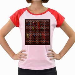 Snakes Ladders Game Plaid Number Women s Cap Sleeve T Shirt