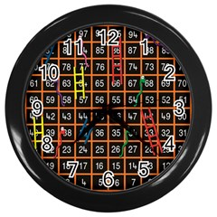 Snakes Ladders Game Plaid Number Wall Clocks (black) by Mariart