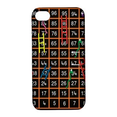Snakes Ladders Game Plaid Number Apple Iphone 4/4s Hardshell Case With Stand by Mariart