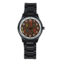Snakes Ladders Game Plaid Number Stainless Steel Round Watch by Mariart