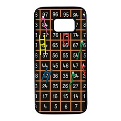Snakes Ladders Game Plaid Number Samsung Galaxy S7 Black Seamless Case by Mariart