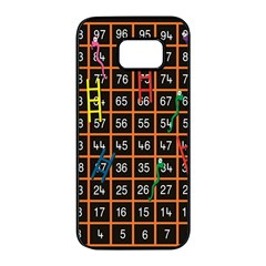 Snakes Ladders Game Plaid Number Samsung Galaxy S7 Edge Black Seamless Case