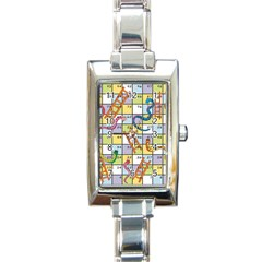 Snakes Ladders Game Board Rectangle Italian Charm Watch by Mariart