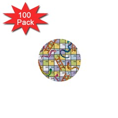 Snakes Ladders Game Board 1  Mini Buttons (100 Pack)