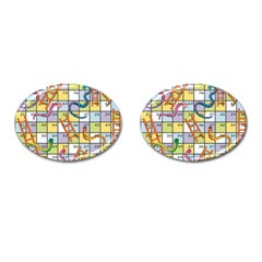 Snakes Ladders Game Board Cufflinks (oval) by Mariart